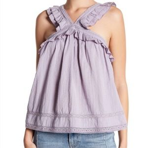 Melrose & Market Ruffle Trim Embroidered Top